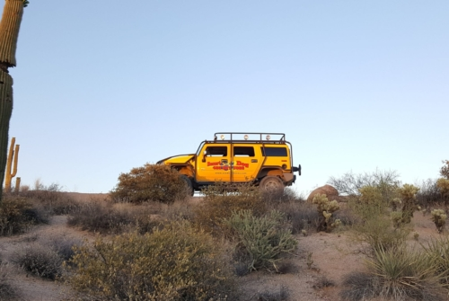 yellow h2 on a desert tour