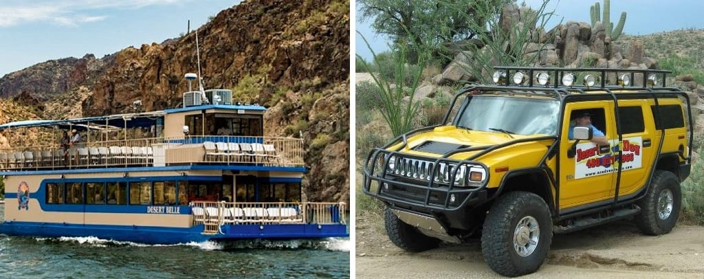 side by side picture of the Desert Belle on the the lake and a picture of a guide in a yellow Hummer
